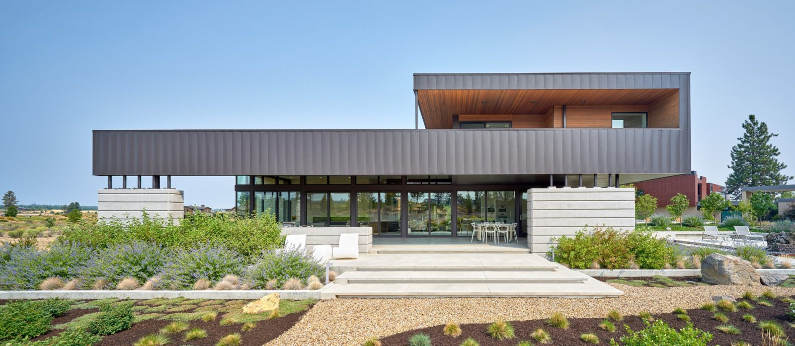 modern architecture concrete steel wood