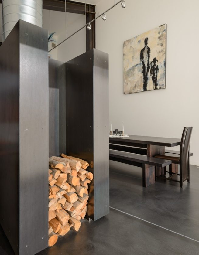 custom steel fireplace wood storage