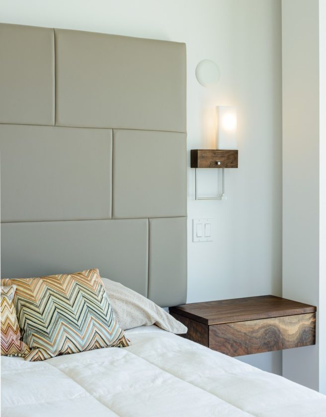 walnut modern reading light headboard