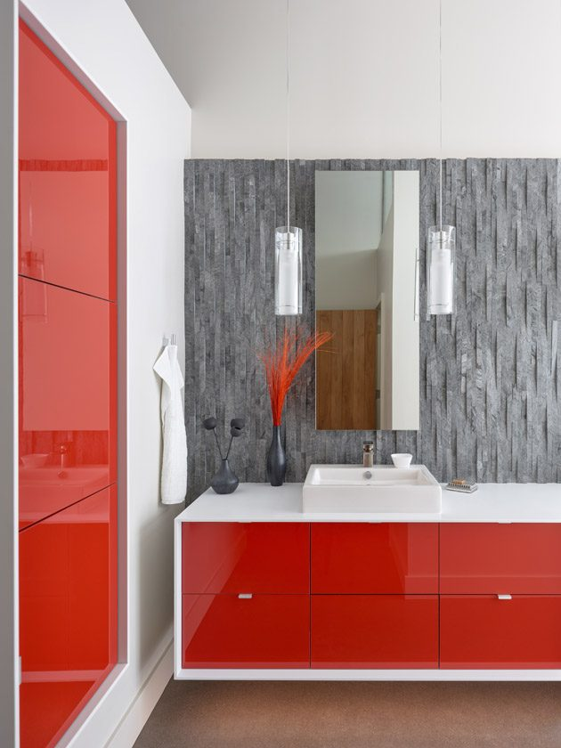 modern bath lava tile floating cabinet