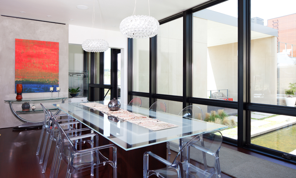 modern dining room table glass