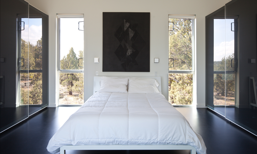 modern bedroom milgard window